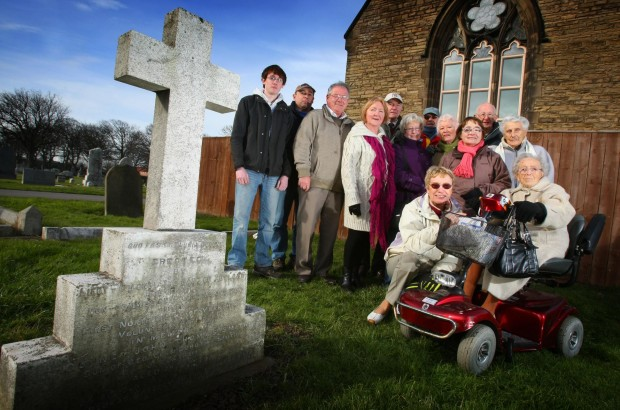 The Friends of Redcar Cemetery in 2010 when they were trying to raise funds to repair a gravestone of Gunner Smith who was killed in 1887.