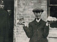 A man holds up fragments of German shell in Hartlepool - such fragments were very soon afterwards being sold a souvenirs