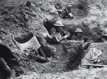 Soldiers in trenches on the Western Front