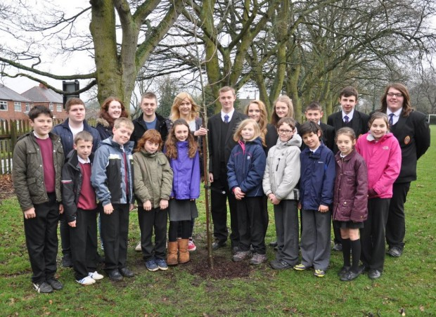 PLANTED: Pupils with the new Wolsingham School and Community College oak