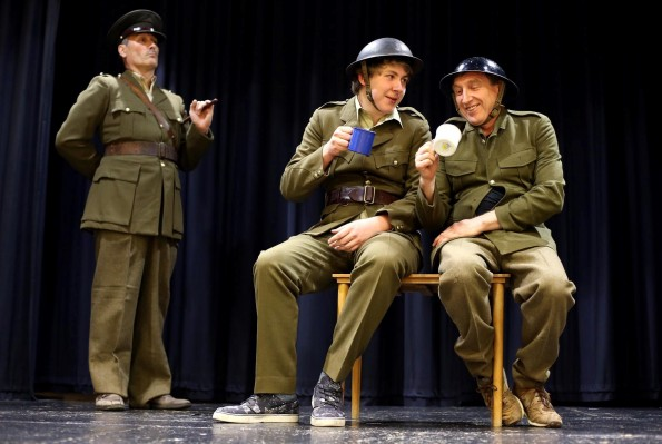 PRIDE IN PLAY: Alan Holcroft as Lt Harry Hargreaves, Brandon Hadwin as Lt Willy Schmitt and Ian Thurgood as Cpl David Rawlings. Picture: CHRIS BOOTH