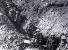 Soldiers in the trenches, believed to be at Ypres